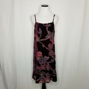 RD + Koko Dresses - RD Koko Burgundy Burnout Floral Velvet Slip Dress